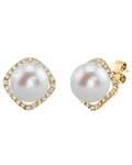 Freshwater Pearl & Diamond Ella Earrings - Model Image