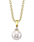 Japanese Akoya Pearl & Diamond Alyssa Pendant - Model Image