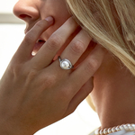 Akoya Pearl & Diamond Willow Ring - Model Image