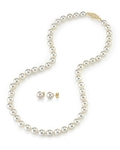 7.5-8.0mm Japanese White Akoya Pearl Necklace & Earrings - Third Image