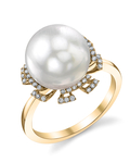 South Sea Pearl & Diamond Miley Ring - Model Image