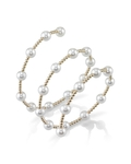 14K Gold 7mm White Freshwater Pearl Beaded Bangle Rita Bracelet - Secondary Image