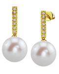 Freshwater Pearl Dangling Diamond Earrings - Model Image