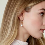 14K Gold Drop-Shape Freshwater Pearl & Quartz Savanah Earrings - Model Image