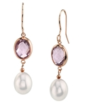 Freshwater Drop Pearl & Amethyst Hailey Tincup Earrings - Third Image