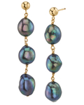 Black Freshwater Pearl Becca Earrings - Model Image