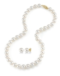 9-10mm Freshwater Pearl Necklace & Earrings - Secondary Image