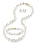 7-8mm Freshwater Pearl Necklace, Bracelet & Earrings - Third Image