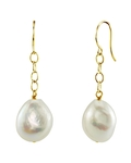 14K Freshwater Baroque Pearl Dangling Tincup Earrings - Model Image