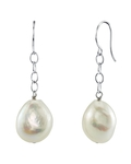 14K Freshwater Baroque Pearl Dangling Tincup Earrings
