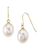 14K Gold Drop-Shape Freshwater Pearl Iris Earrings - Model Image