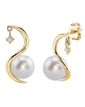 Freshwater Pearl & Diamond Ellis Earrings - Model Image
