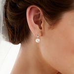Akoya Pearl & Diamond Joyce Earrings - Model Image