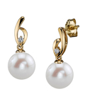 Freshwater Pearl & Diamond Lois Earrings - Secondary Image