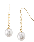 14K Gold Drop-Shape Freshwater Pearl Lila Tincup Earrings - Model Image