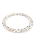 Triple Strand White Freshwater Pearl Necklace
