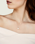 Akoya Pearl Dangling Diamond Pendant- Choose Your Pearl Color - Model Image