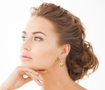 Golden South Sea Pearl & Diamond Belle Earrings - Model Image