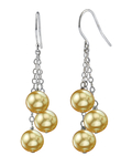 Golden South Sea Pearl Cluster Earrings - Secondary Image