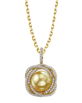 Golden Pearl & Diamond Braided Pendant