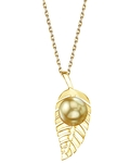 Golden South Sea Pearl Leaf Pendant