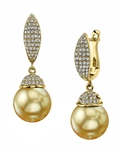 Golden South Sea Pearl & Diamond Kendall Earrings