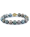 9-10mm Tahitian South Sea Multicolor Pearl Bracelet - AAA Quality - Secondary Image