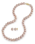 8-9mm Pink Freshwater Pearl Necklace & Earrings - Third Image