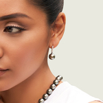 Tahitian South Sea Pearl Dangling Diamond Earrings - Model Image
