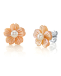 White Freshwater Button-Shape Cultured Pearl on Mother of Pearl Flower Lotus Earrings