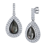 Black Mother of Pearl Cultured Pearl & Cubic Zirconia Earrings