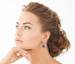 Black Mother of Pearl Cultured Pearl & Cubic Zirconia Earrings - Model Image