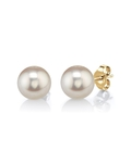 7mm White Freshwater Pearl Stud Earrings - Premiere Quality - Third Image