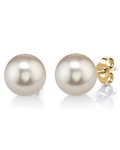 13mm White Freshwater Pearl Stud Earrings - Model Image