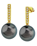 Tahitian South Sea Pearl Dangling Diamond Earrings - Third Image