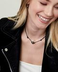 Tahitian Baroque Pearl Leather Adjustable Necklace- Various Sizes - Model Image