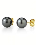 13mm Tahitian South Sea Pearl Stud Earrings- Various Colors - Secondary Image