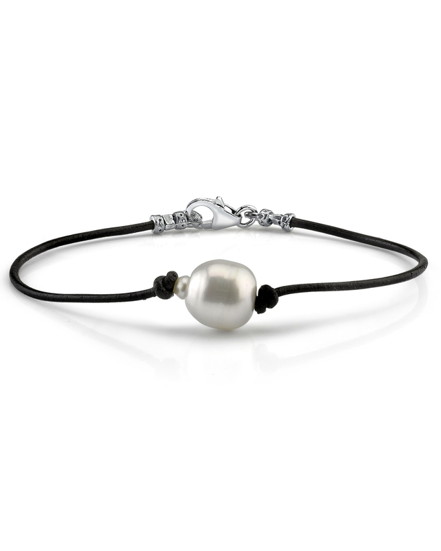11mm South Sea Baroque Pearl Leather Bracelet