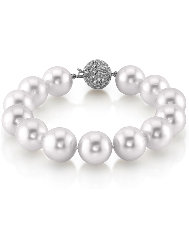 12-13mm White South Sea White Pearl Bracelet- AAAA Quality