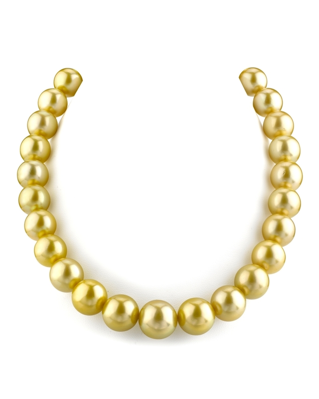 13-15mm Golden South Sea Pearl Necklace - AAA Quality