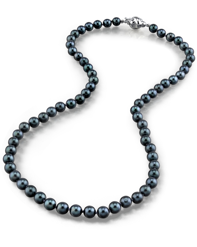 5.0-5.5mm Japanese Akoya Black Choker Length Pearl Necklace- AA+ Quality