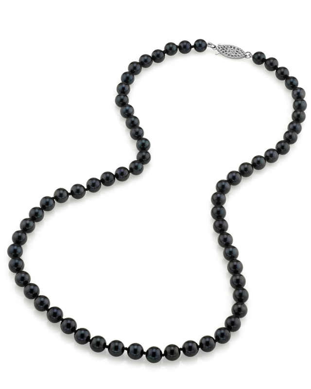 6.0-6.5mm Japanese Akoya Black Pearl Necklace- AA+ Quality