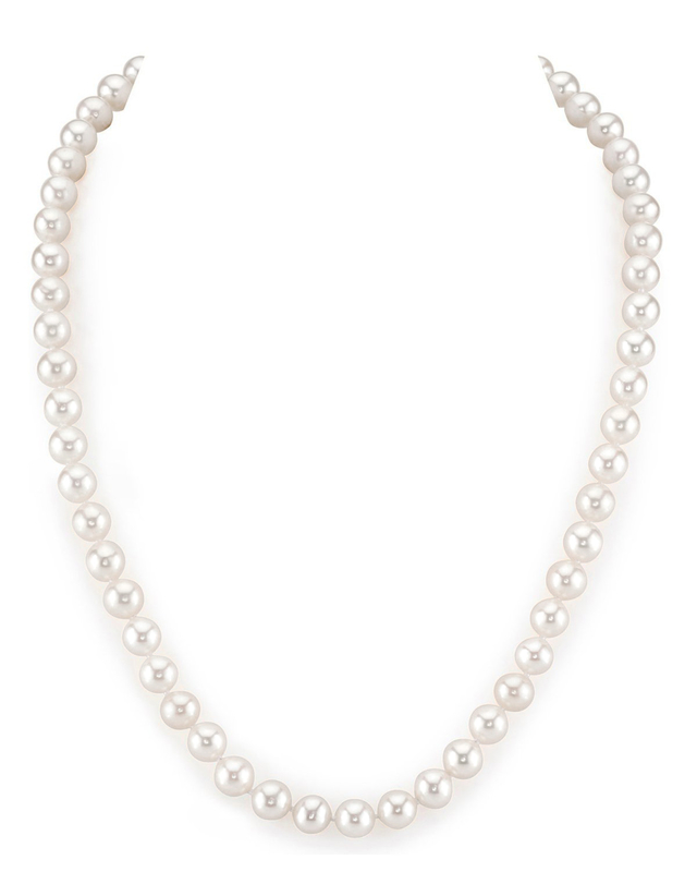 7-8mm White Freshwater Pearl Necklace - AAA Quality