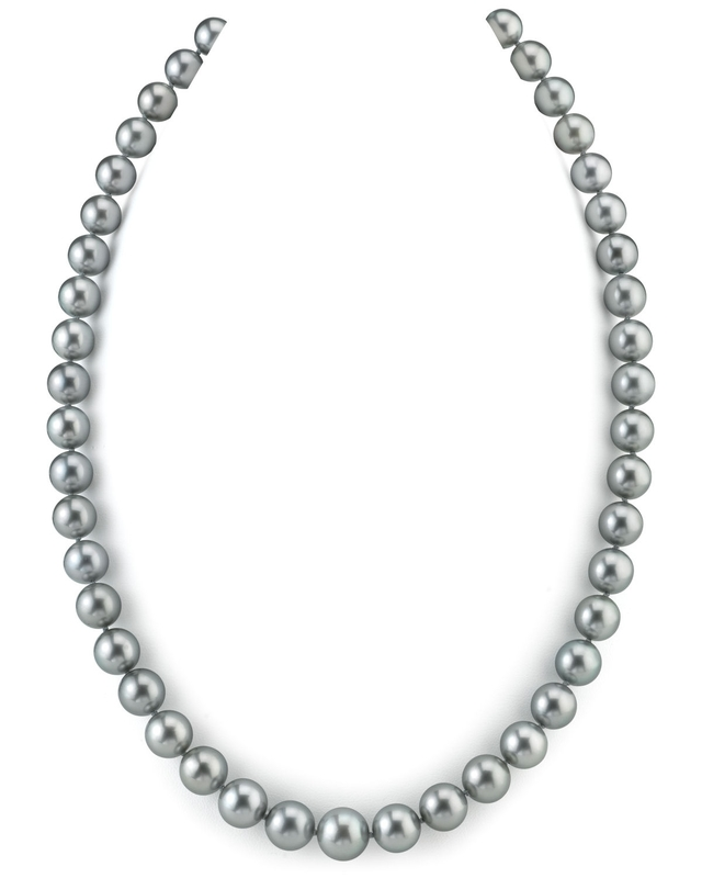8-10mm Silver Tahitian South Sea Pearl Necklace - AAAA Quality