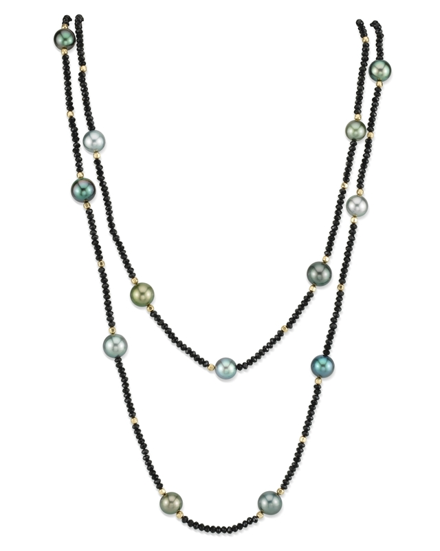 9-10mm Tahitian South Sea Multicolor Pearl & Gemstone Necklace