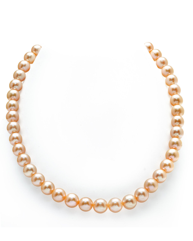 9-10mm Peach Freshwater Pearl Necklace - AAAA Quality
