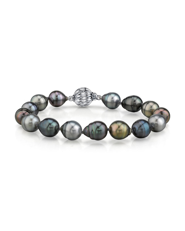9-10mm Tahitian South Sea Multicolor Baroque Pearl Bracelet - AAA Quality