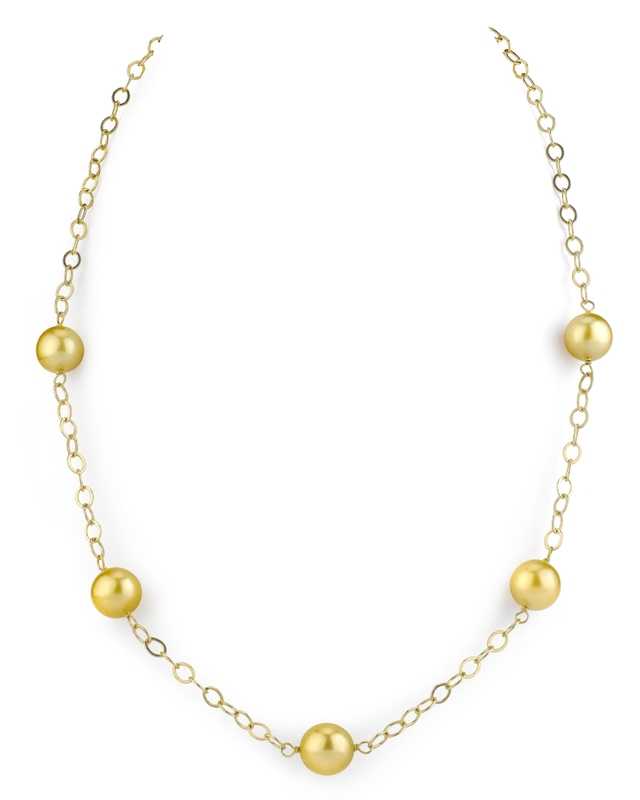 Golden South Sea Round Pearl Tincup Necklace