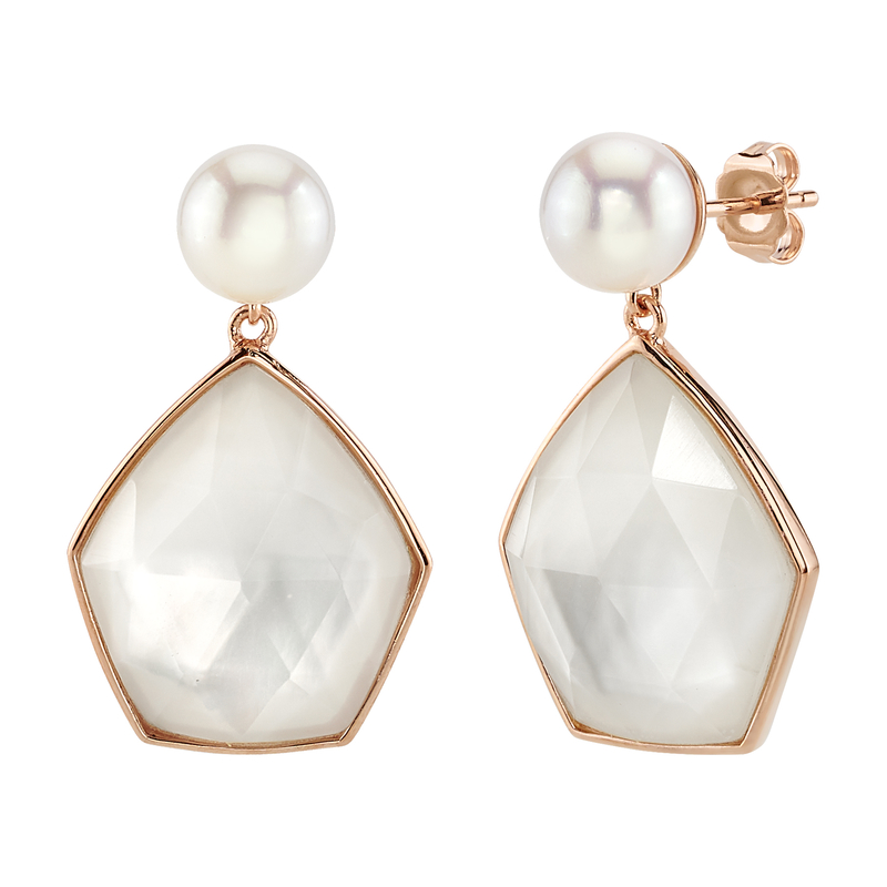 White Freshwater Pearl with Quartz & Mother of Pearl Quinn Earrings