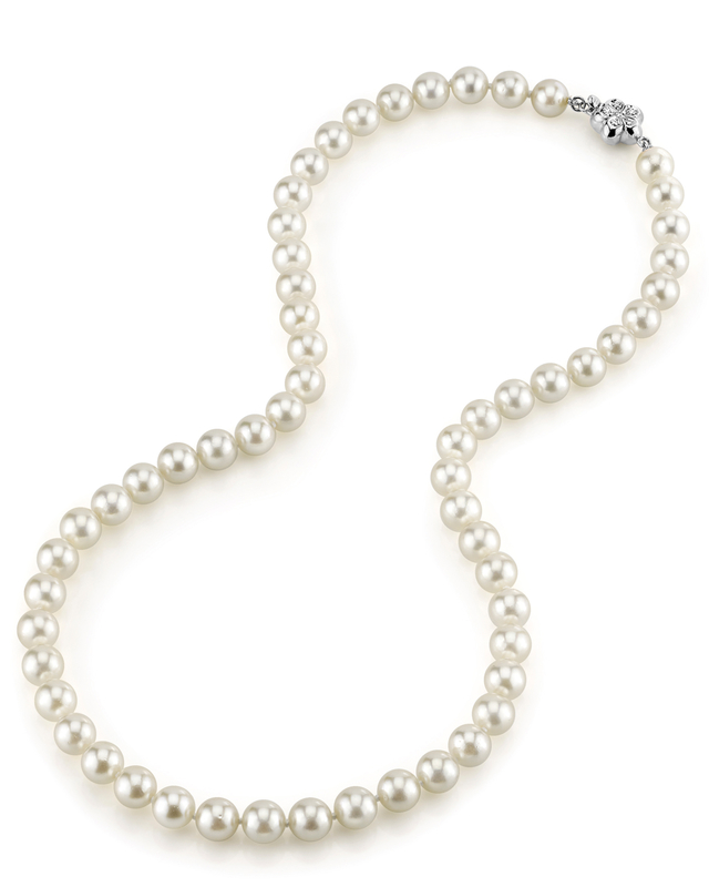 7.0-7.5mm Japanese Akoya White Pearl Necklace- AA+ Quality